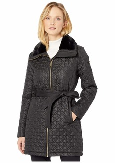 Via Spiga Houndstooth Stitched Quilt with Faux Fur Collar