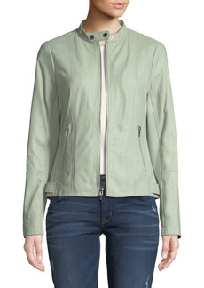 Via Spiga Leather Ponte-Contrast Moto Jacket