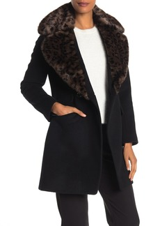 Via Spiga Leopard Faux Fur Collar Wool Blend Textured Coat