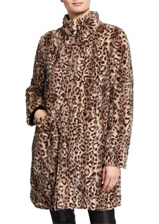 Via Spiga Leopard Faux-Fur Faux-Fur Coat