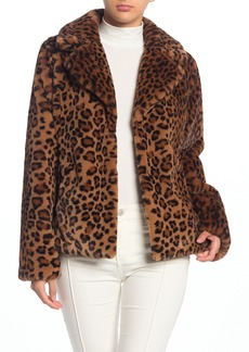 Via Spiga Leopard Print Faux Fur Jacket