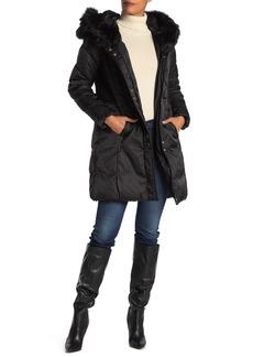 Via Spiga Lux Faux Fur Trim Hood Quilted Jacket