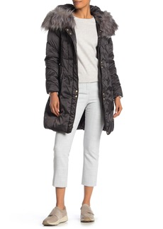 Via Spiga Lux Faux Fur Trim Hood Quilted Jacket
