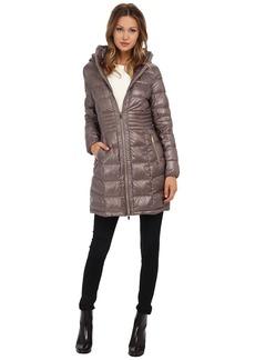 Via Spiga Metallic Hooded Packable Down Coat