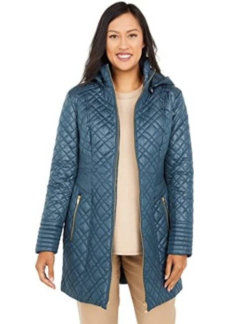 Via Spiga Multi-Stitched Quilt Jacket with Hood