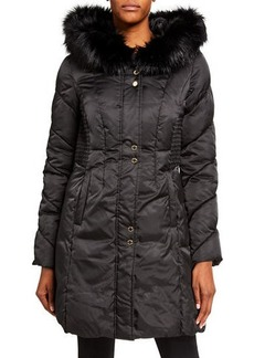 Via Spiga Oversized Faux Fur Hood Puffer Coat
