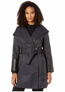 Via Spiga Oversized Hooded Shawl Collar Woven Lightweight Raincoat with Faux Leather Detail