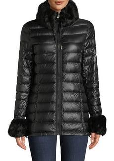 Via Spiga Packable Puffer Jacket w/Faux-Fur Trim