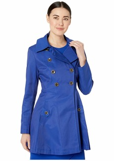 Via Spiga Petite Double Breasted Fit and Flare w/ Detachable Hood