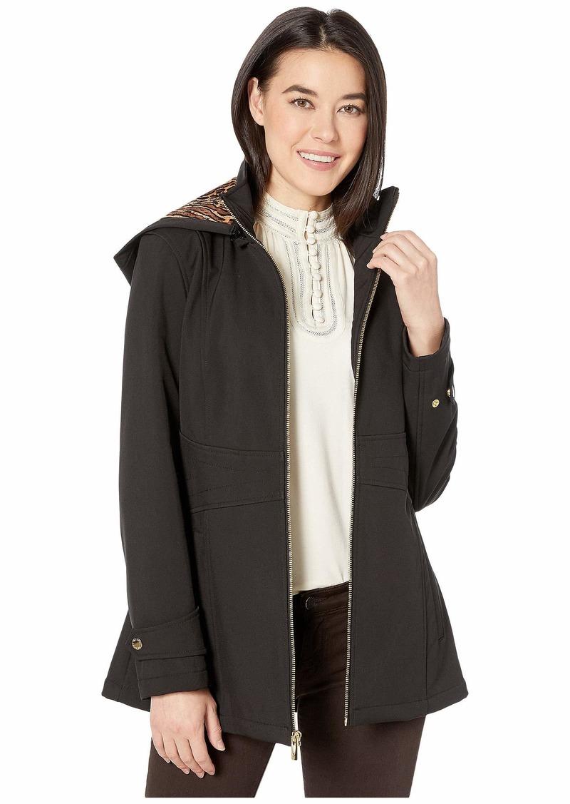 Via Spiga Petite Rain Stand Collar Zip Front w/ Detachable Hood and Stitched Waist Detail