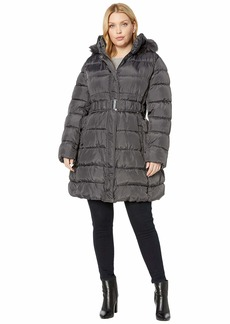 Via Spiga Plus Size 3/4 Belted Ruched Puffer