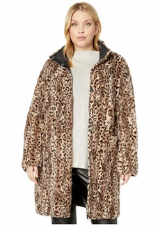 Via Spiga Plus Size Faux Fur Reversible Coat