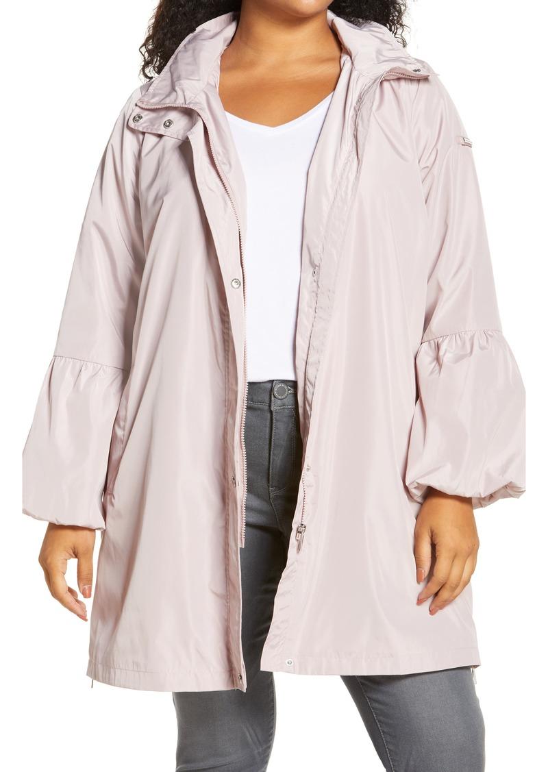 Plus Size Women's Via Spiga Balloon Sleeve Water Repellent Packable Rain Jacket