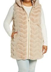 Plus Size Women's Via Spiga Chevron Hooded Faux Fur Vest