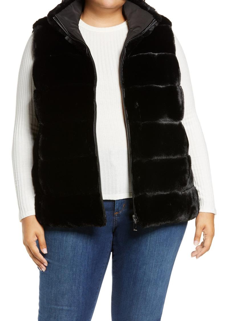 Plus Size Women's Via Spiga Faux Fur Reversible Vest