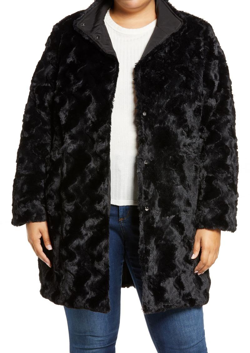Plus Size Women's Via Spiga Reversible Grooved Wave Faux Fur Jacket