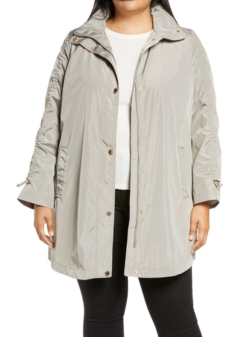 Plus Size Women's Via Spiga Ruched Sleeve Packable Rain Jacket