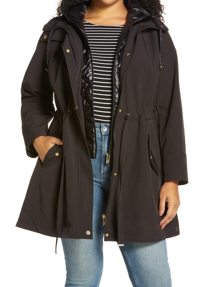 Plus Size Women's Via Spiga Water Repellent Coat With Quilted Hooded Liner