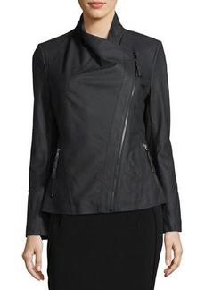 Via Spiga Ponté-Panel Asymmetric Zip Leather Jacket