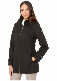 Via Spiga Rain Stand Collar Zip Front with Detachable Hood and Stitched Waist Detail