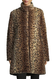 Via Spiga Reversible Faux-Fur A-Line Coat