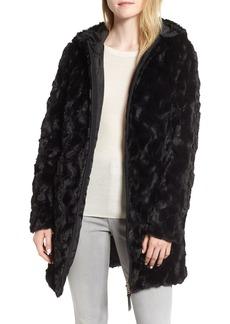 Via Spiga Reversible Hooded Faux Fur Coat