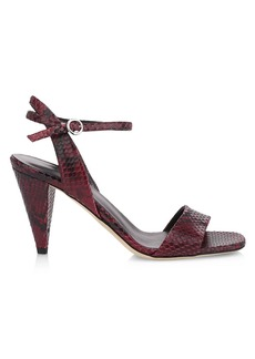 Via Spiga Ria Snakeskin-Embossed Leather Sandals