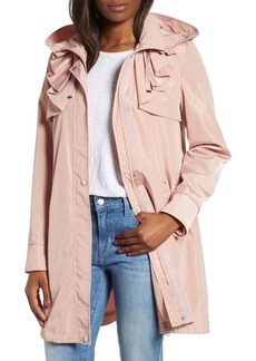 Via Spiga Ruffle Detail Packable Raincoat
