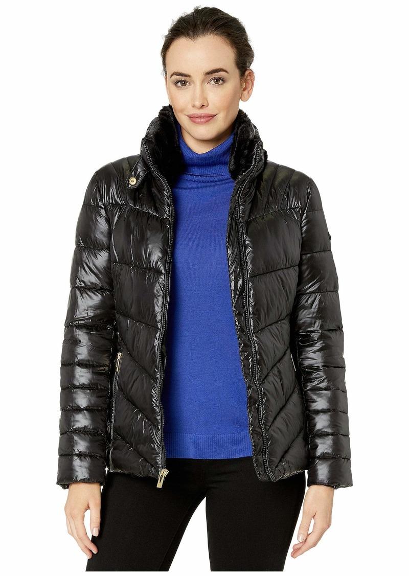 Via Spiga Shine Packable Puffer with Faux Fur Detachable Collar and Zip Hidden Hood