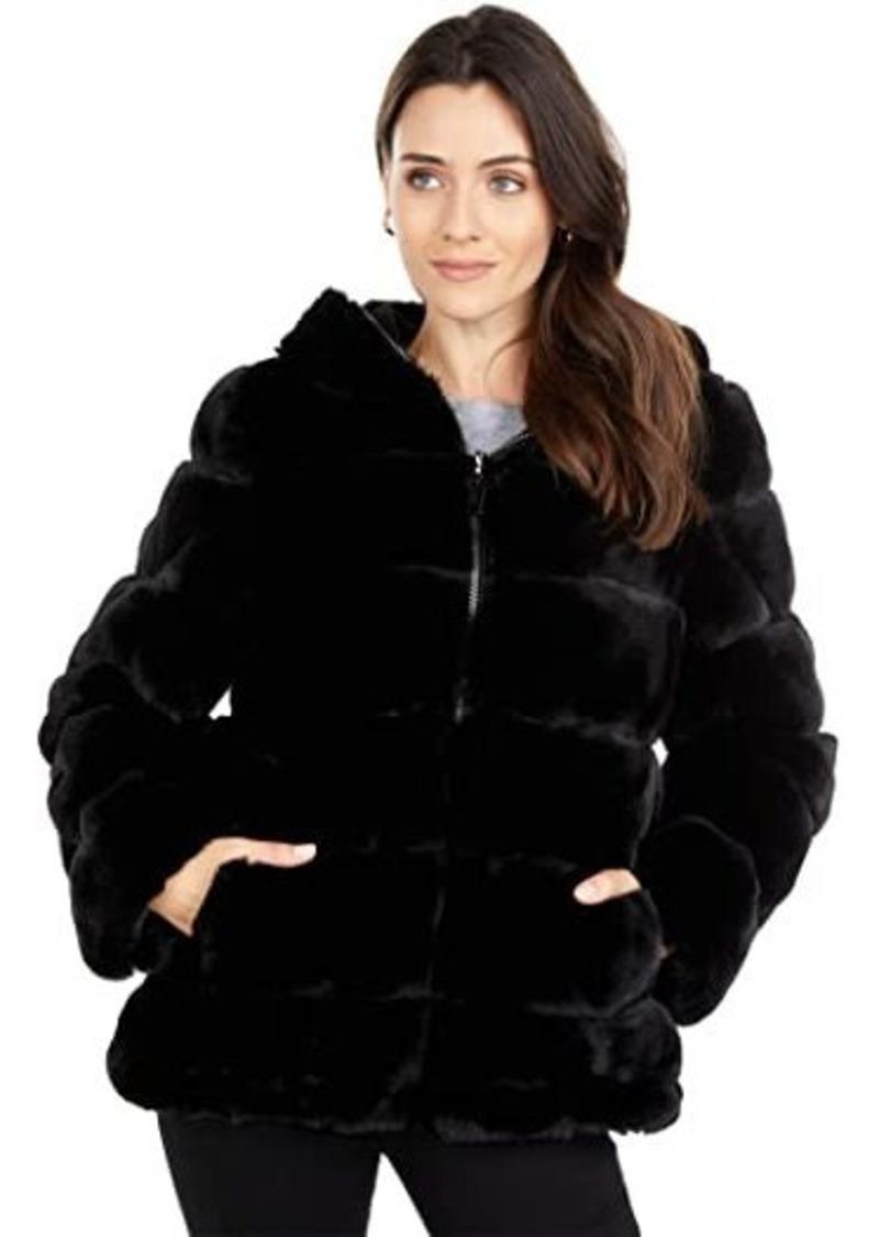 Via Spiga Short Wide Grooved Faux Fur Reversible Hoodie