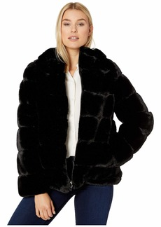 Via Spiga Short Wide Grooved Faux Fur Reversible Hoodie