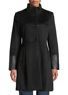 Via Spiga Single-Breasted Pea Coat W/ Faux Leather Trim