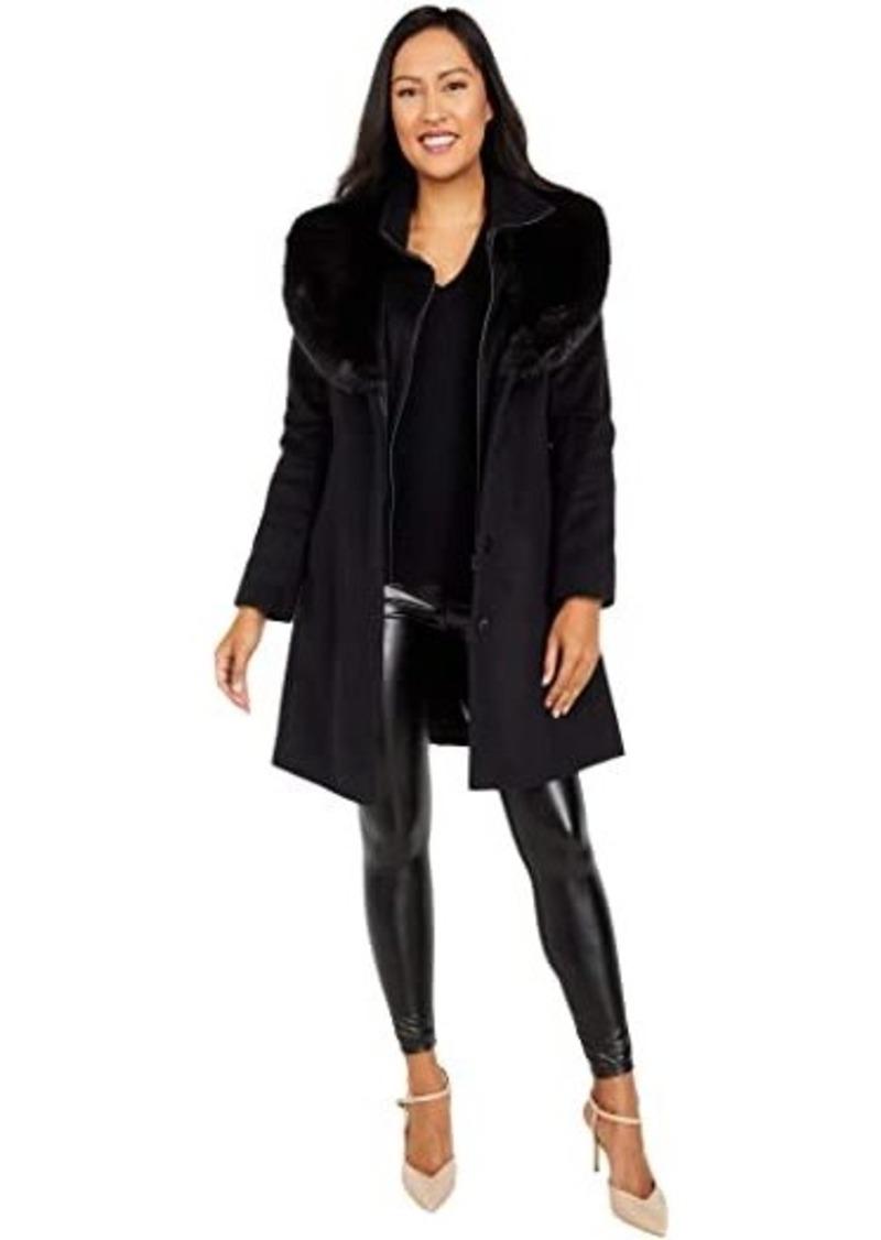 Via Spiga Single Breasted Wool Walker with Faux Fur Shawl Collar