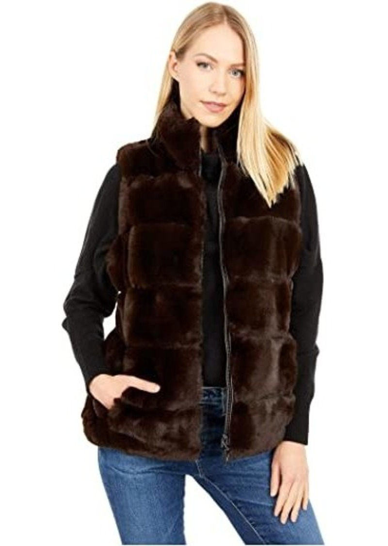 Via Spiga Sleeveless Short Reversible Faux Fur Vest