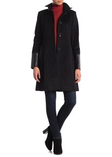 Via Spiga Stand Collar Faux Leather Trim Jacket