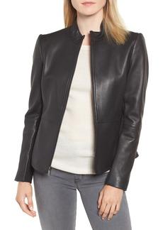 Via Spiga Stand Collar Leather Jacket (Regular & Petite)