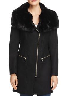 Via Spiga Asymmetric Zip Faux Fur Trim Coat