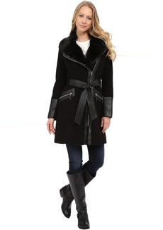 Via Spiga Asymmetrical Belted Wool Coat w/ PU Detail and Faux Fur Collar