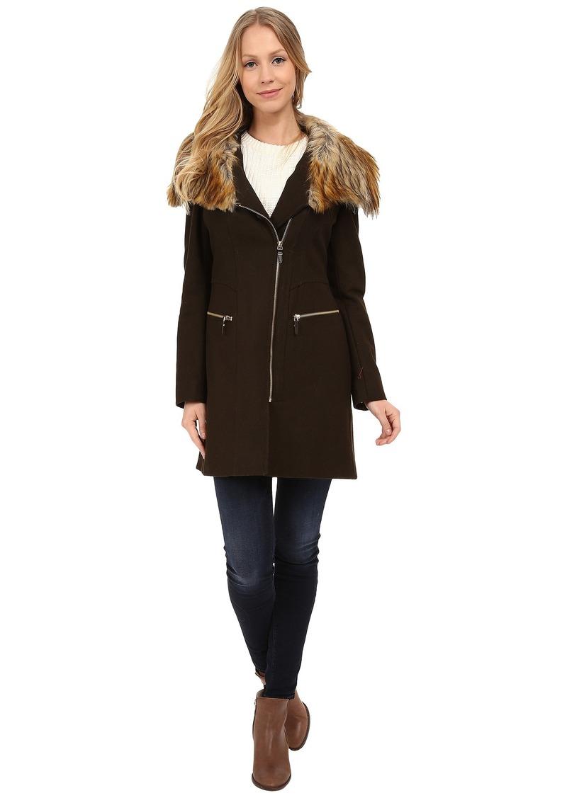 Via Spiga Asymmetrical Coat w/ Multi Raccoon Faux Fur Collar