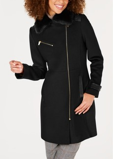 Via Spiga Asymmetrical Faux-Fur-Collar Coat