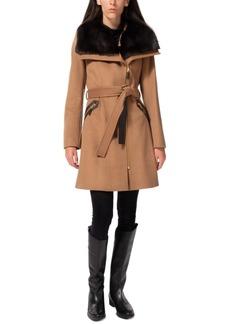 Via Spiga Asymmetrical Faux-Fur-Collar Wrap Coat, Created for Macy's