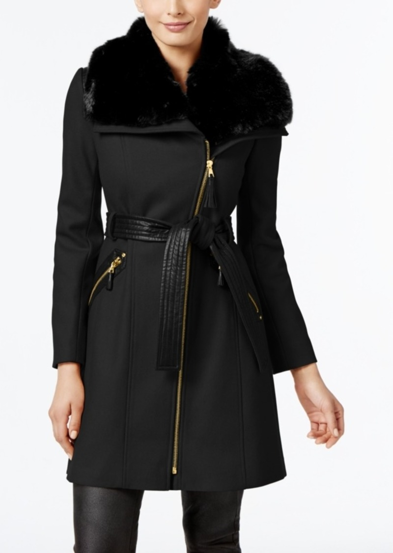 Via Spiga Asymmetrical Faux-Fur-Collar Coat, Created for Macy's