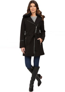 Via Spiga Asymmetrical Softshell with Removable Faux Fur Collar