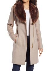Via Spiga Asymmetrical Wool Coat with Faux Fur Collar