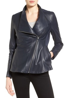 Via Spiga Asymmetrical Zip Leather & Ponte Jacket