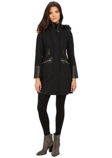 Via Spiga Basket Tweed Tassel Body Coat w/w Faux Fur Trimmed Detachable Hood