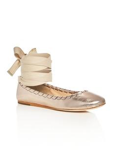 Via Spiga Baylie Metallic Ankle Tie Ballet Flats