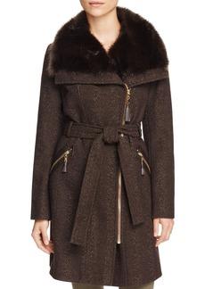 Via Spiga Belted Asymmetric Front Tweed Coat