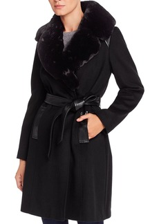 Via Spiga Belted Faux Fur-Collar Wool-Blend Coat