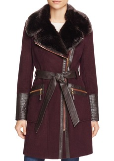 Via Spiga Belted Faux Fur-Trim Asymmetric Coat